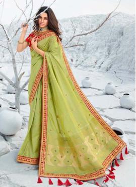 Green Border Silk Classic Saree