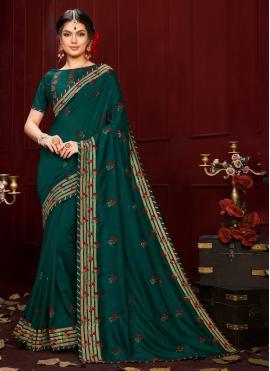Green Ceremonial Poly Silk Trendy Saree