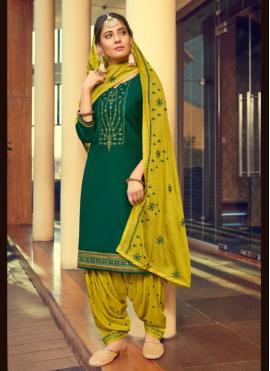 Green Color Patiala Suit