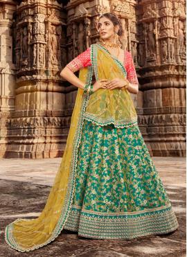 Green Color Trendy Lehenga Choli