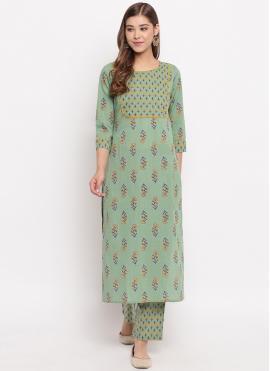 Green Cotton Designer Kurti