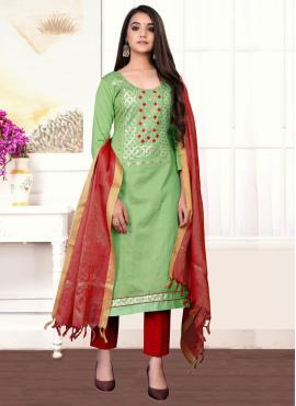 Green Cotton Designer Straight Suit