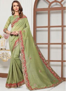 Green Cotton Silk Embroidered Trendy Saree