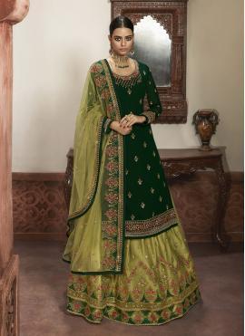 Green Embroidered A Line Lehenga Choli