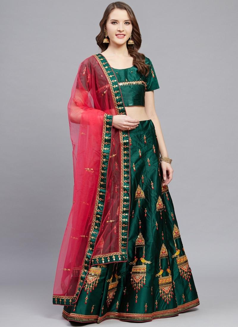 Green Embroidered Ceremonial Designer Lehenga Choli