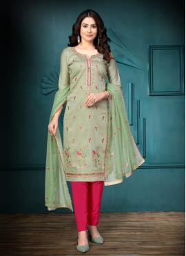 Green Embroidered Cotton Churidar Salwar Suit