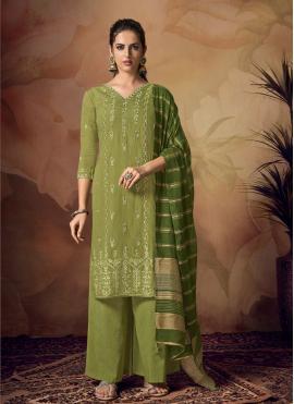 Green Embroidered Designer Palazzo Salwar Kameez