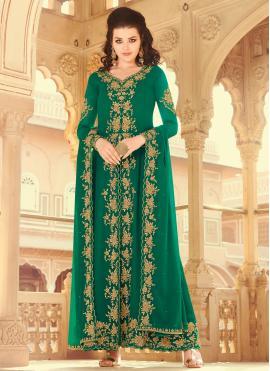 Green Embroidered Festival Designer Salwar Kameez