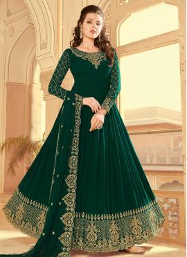 Green Embroidered Festival Floor Length Anarkali Suit