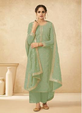 Green Embroidered Georgette Bollywood Salwar Kameez