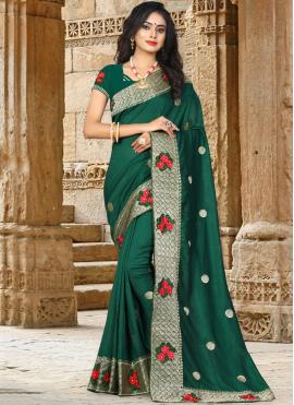 Green Embroidered Party Traditional Designer Saree
