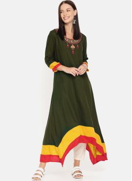 Green Embroidered Rayon Designer Kurti