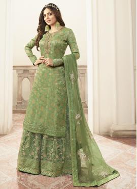 Green Embroidered Sangeet Designer Salwar Kameez