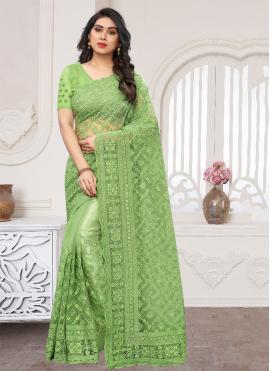 Green Embroidered Wedding Designer Saree