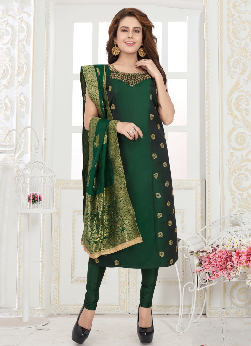Green Fancy Engagement Readymade Suit