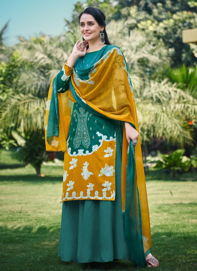 Green Fancy Fabric Festival Designer Palazzo Suit
