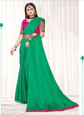 Green Faux Chiffon Classic Saree