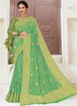 Green Faux Chiffon Weaving Contemporary Saree
