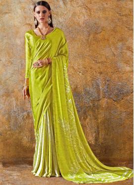 Green Faux Crepe Casual Printed Saree
