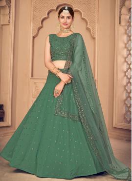 Green Faux Georgette Embroidered Lehenga Choli
