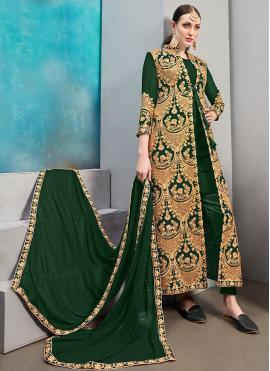 Green Faux Georgette Resham Jacket Style Suit