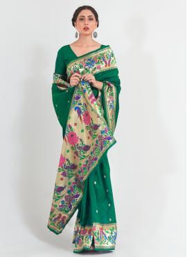 Green Festival Handloom silk Traditional Designer Saree