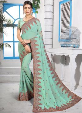 Green Georgette Embroidered Classic Saree