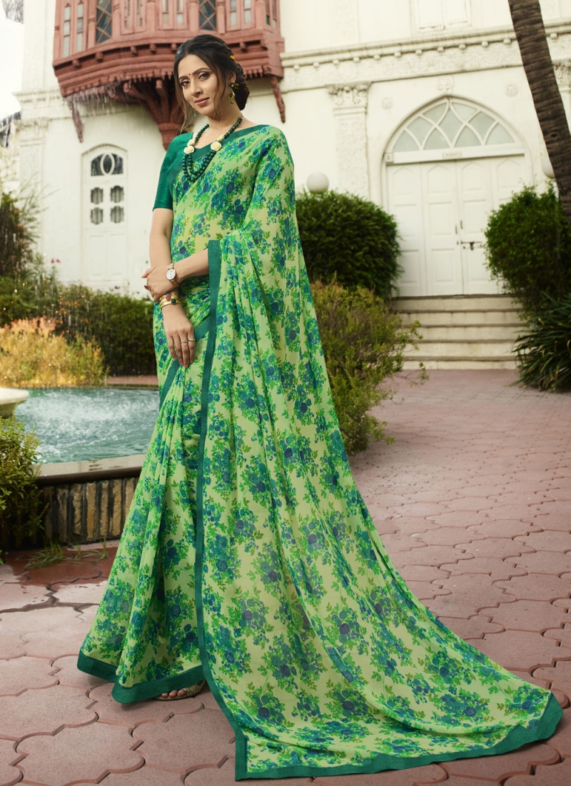Green Georgette Party Traditional Saree