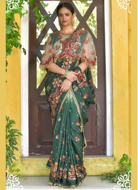 Green Handwork Mehndi Designer Traditional Saree