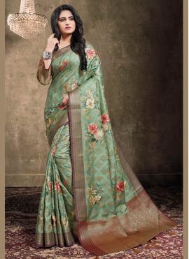 Green Jacquard Engagement Trendy Saree