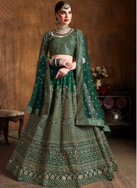 Green Lace Raw Silk Lehenga Choli