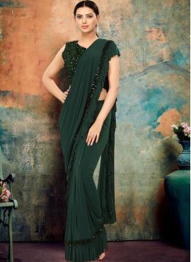 Green Lycra Sequins Designer Traditional Saree