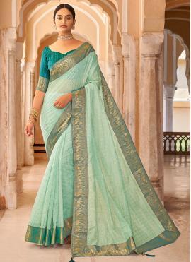 Green Mehndi Cotton Casual Saree