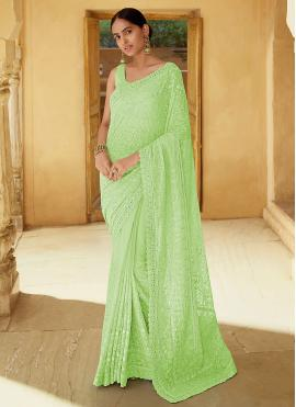 Green Mirror Mehndi Trendy Saree