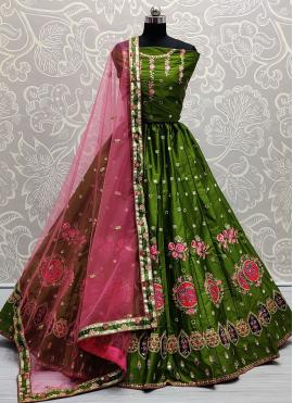 Green Mirror Silk Lehenga Choli