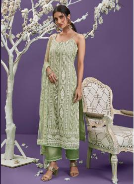 Green Net Embroidered Designer Straight Suit