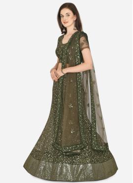 Green Net Mehndi Lehenga Choli