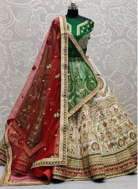 Green, Off White and Red Thread Work Silk Lehenga Choli