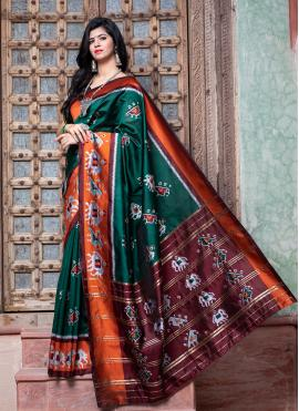 Green Patola Silk  Traditional Saree