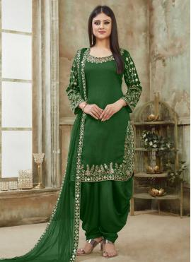 Green Resham Art Silk Designer Patiala Suit