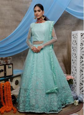 Green Resham Net Designer Lehenga Choli