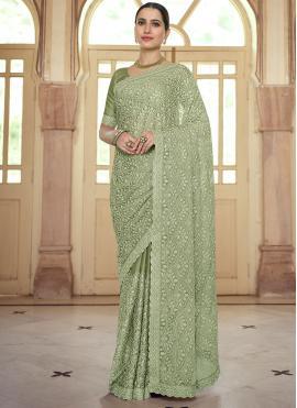 Green Resham Wedding Designer Saree
