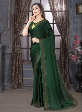 Green Satin Classic Saree