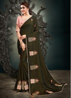 Green Satin Silk Designer Saree