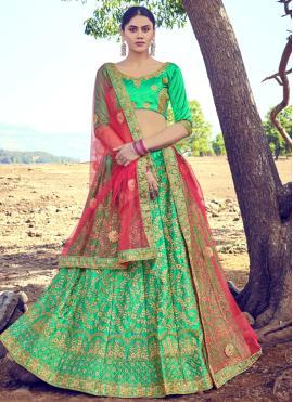 Green Satin Silk Embroidered A Line Lehenga Choli