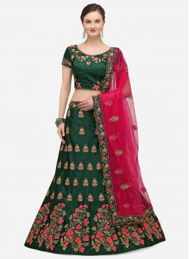 Green Satin Silk Zari A Line Lehenga Choli