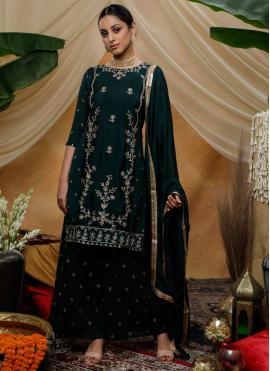 Green Sequins Chinon Palazzo Designer Salwar Suit