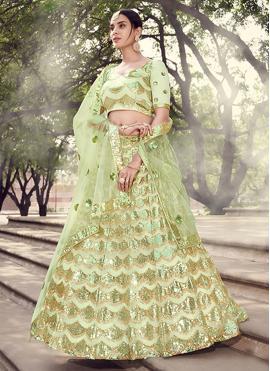 Green Sequins Sangeet Lehenga Choli