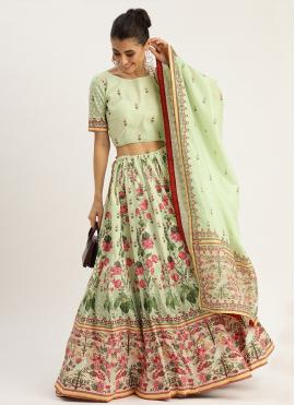 Green Silk Ceremonial Designer Lehenga Choli