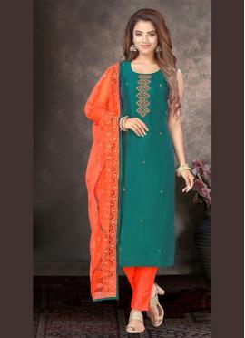 Green Silk Designer Salwar Kameez